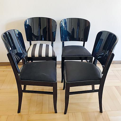 Art Deco Stühle Schwarzlack